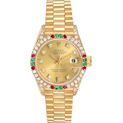 Photo of Rolex President Datejust Yellow Gold Diamond Ruby Emerald Watch 69038