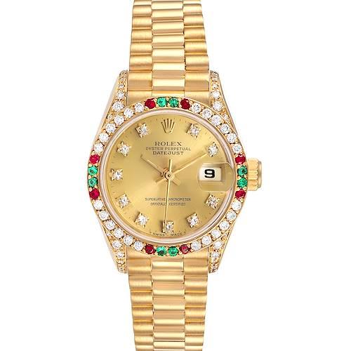 Photo of Rolex President Datejust Yellow Gold Diamond Ruby Emerald Watch 69038