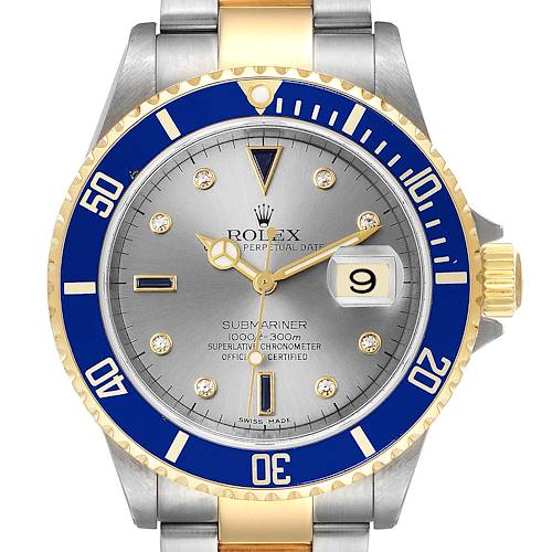 Photo of Rolex Submariner Steel Gold Diamond Sapphire Serti Dial Mens Watch 16613 PARTIAL PAYMENT NOT FOR SALE