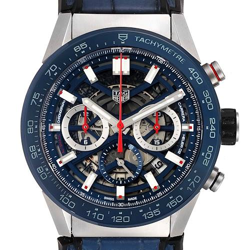 Photo of Tag Heuer Carrera Blue Skeletonized Dial Mens Watch CBG2A1Z Box Card