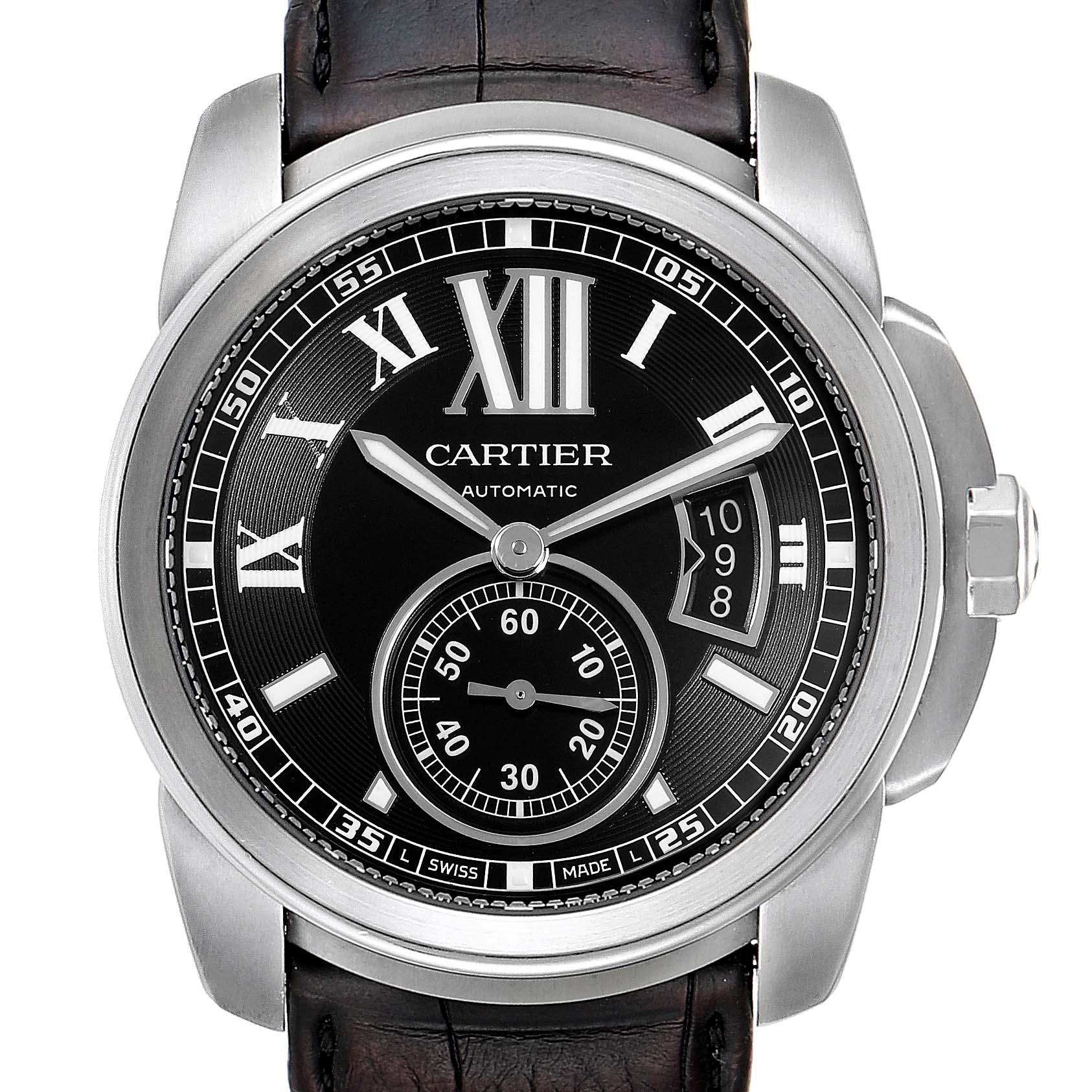 Cartier Calibre Black Dial Automatic Steel Mens Watch W7100041