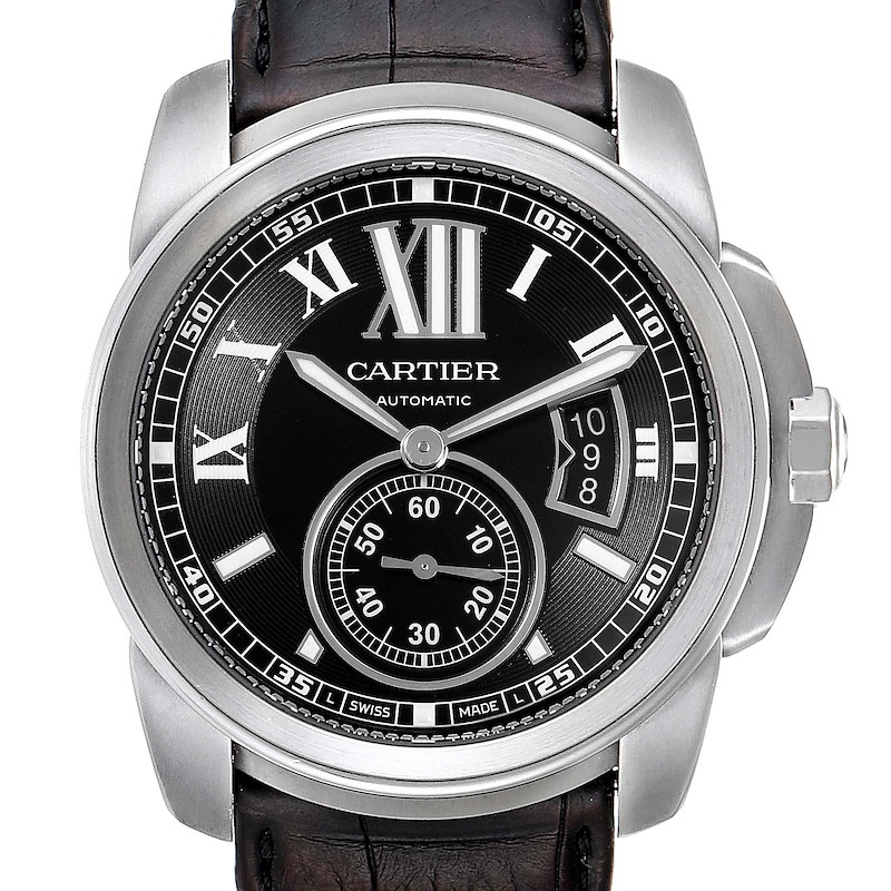Cartier Calibre Black Dial Automatic Steel Mens Watch W7100041 SwissWatchExpo