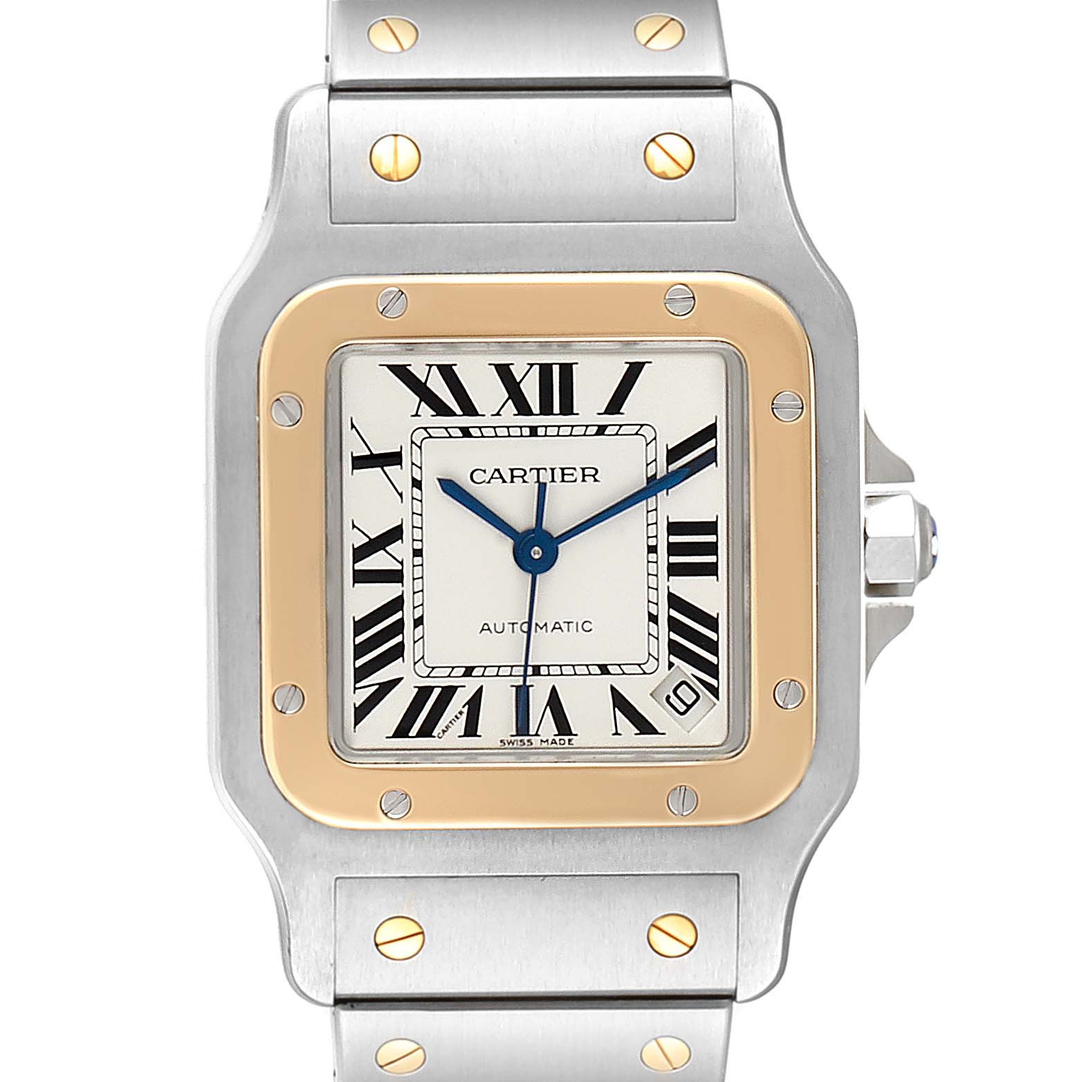 Cartier Santos Galbee XL Steel Yellow Gold Mens Watch W20099C4