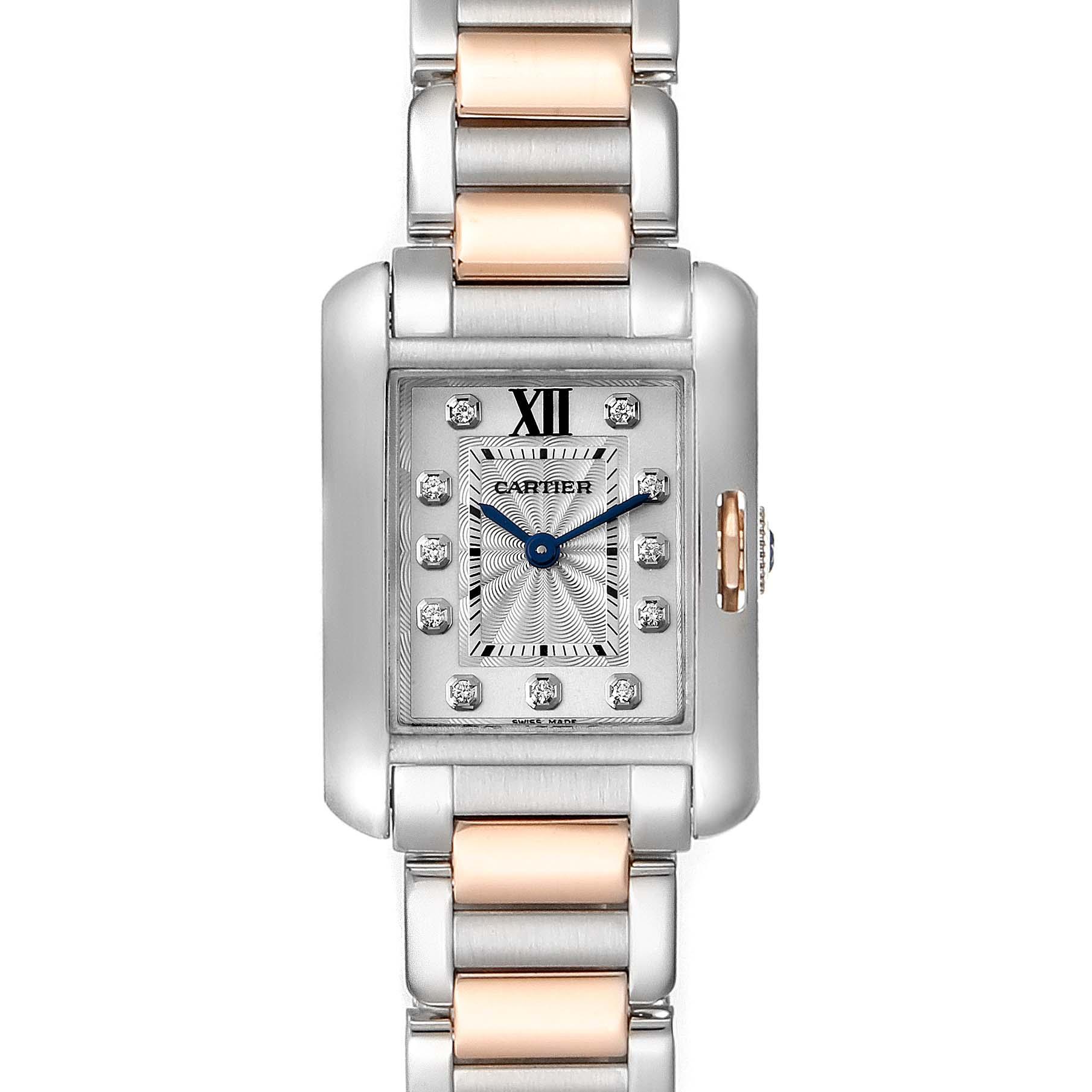 Cartier Tank Anglaise Small Steel 18K Rose Gold Diamond Watch WT100024