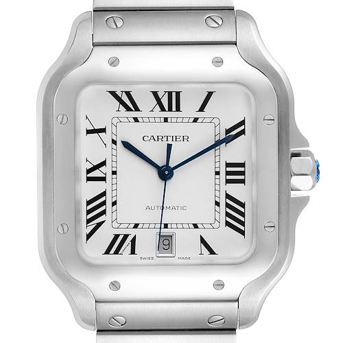 Photo of Cartier Santos Silver Dial Large Steel Mens Watch WSSA0018 Unworn