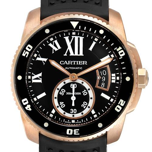 Cartier Calibre Diver Rose Gold Black Dial Automatic Mens Watch W7100052
