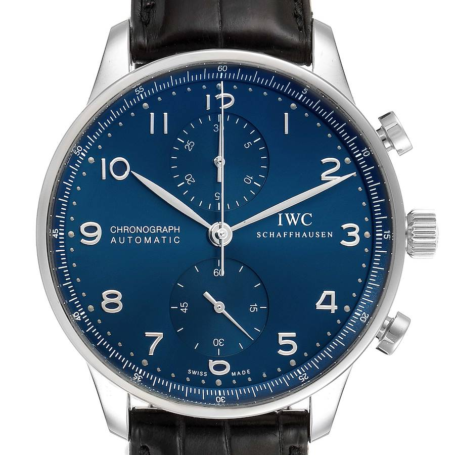 IWC Portuguese Chronograph Blue Dial Steel Mens Watch IW371491 Box Card SwissWatchExpo