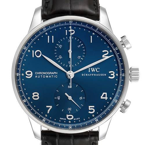 Photo of IWC Portuguese Chronograph Blue Dial Steel Mens Watch IW371491 Box Card