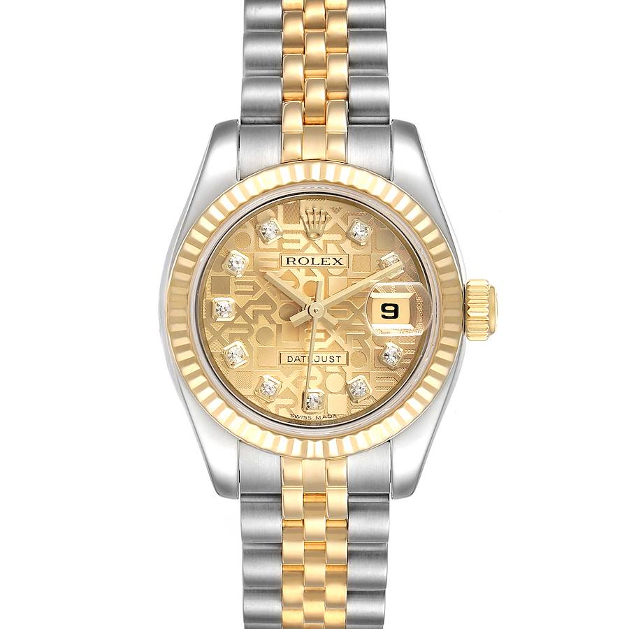 Rolex Datejust 26 Steel Yellow Gold Diamond Ladies Watch 179173 Box Papers SwissWatchExpo
