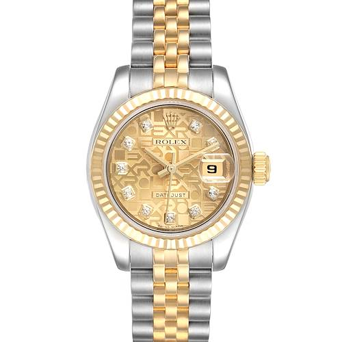Photo of Rolex Datejust 26 Steel Yellow Gold Diamond Ladies Watch 179173 Box Papers