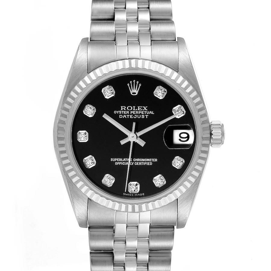Rolex Datejust Midsize Steel White Gold Diamond Ladies Watch 78274 Papers SwissWatchExpo