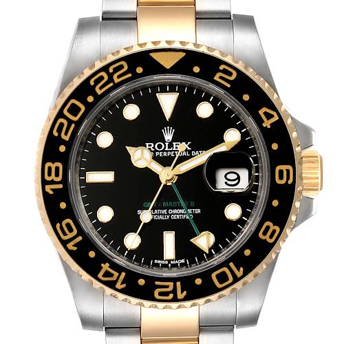 Photo of Rolex GMT Master II Yellow Gold Steel Mens Watch 116713