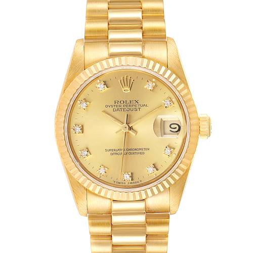 Photo of Rolex President Datejust 31 Midsize 18K Gold Diamond Watch 68278