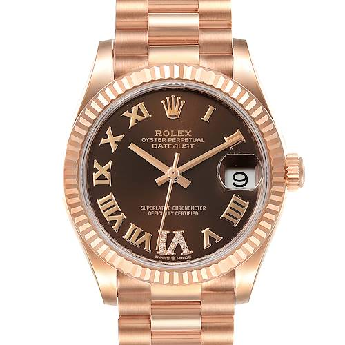 Photo of Rolex President Midsize Rose Gold Chocolate Diamond Watch 279165 Unworn