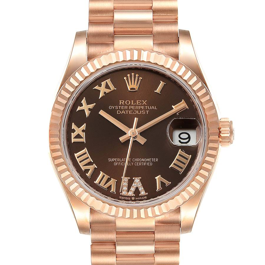 Rolex President Midsize Rose Gold Chocolate Diamond Watch 279165 Unworn SwissWatchExpo