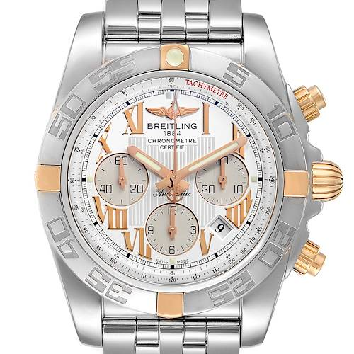 Photo of Breitling Chronomat Silver Dial Steel Rose Gold Mens Watch IB0110