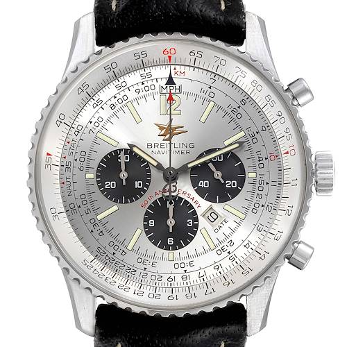 Photo of Breitling Navitimer 50th Anniversary Silver Dial Mens Watch A41322 Box Papers