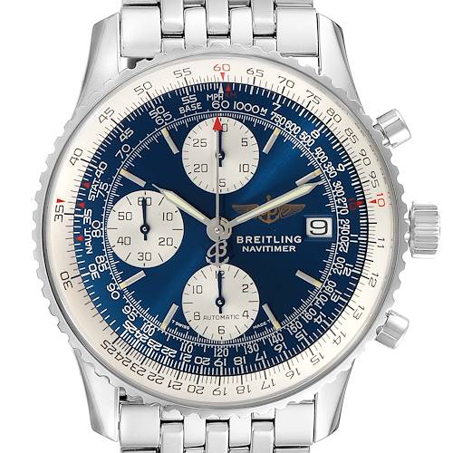 Photo of Breitling Navitimer II Blue Dial Steel Mens Watch A13022 Box Papers