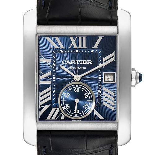 Photo of Cartier Tank MC Blue Dial Automatic Steel Mens Watch WSTA0010 Box Papers