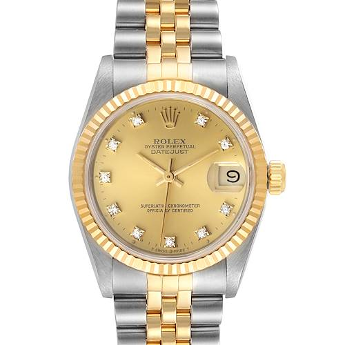 Photo of Rolex Datejust Midsize 31 Steel Yellow Gold Diamond Ladies Watch 68273