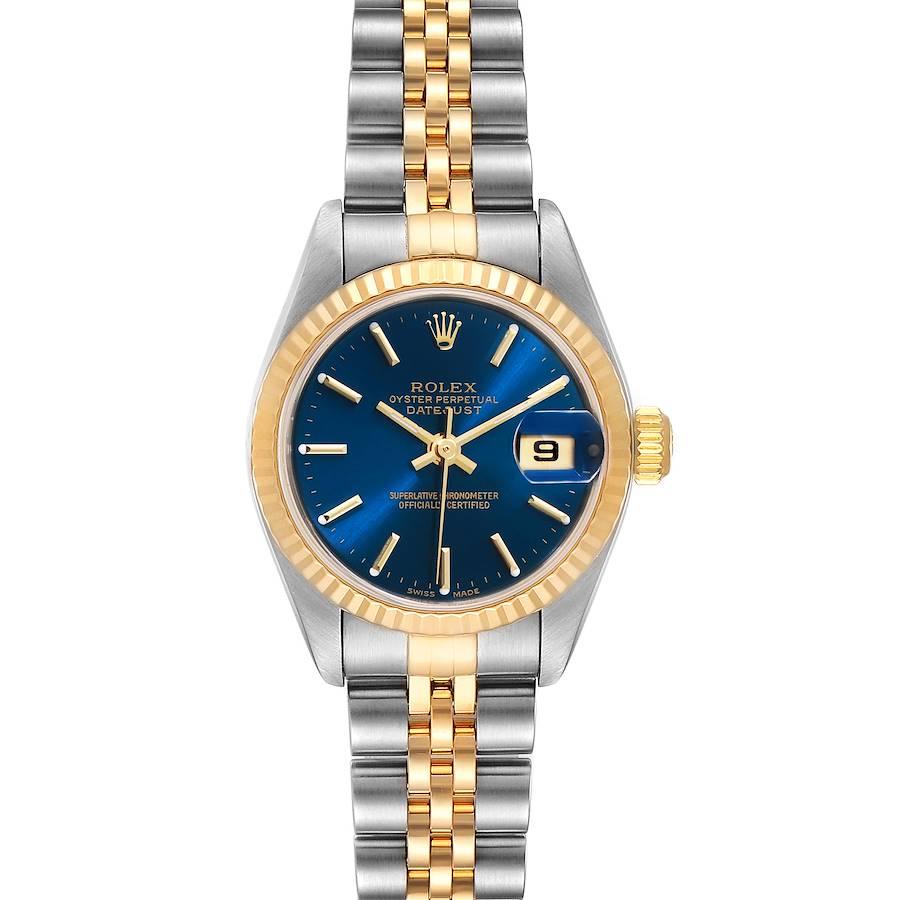 Rolex Datejust Steel 18k Yellow Gold Blue Dial Ladies Watch 79173 SwissWatchExpo