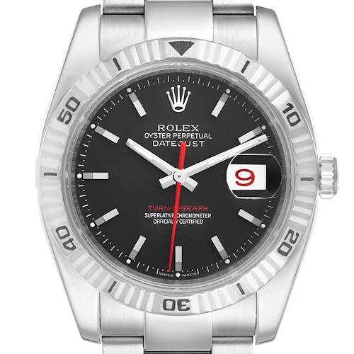 Photo of Rolex Datejust Turnograph Black Dial Steel Mens Watch 116264