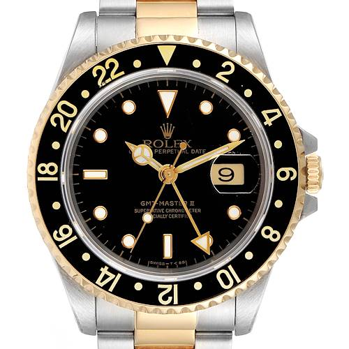 Rolex GMT Master II Yellow Gold Steel Oyster Bracelet Mens Watch 16713