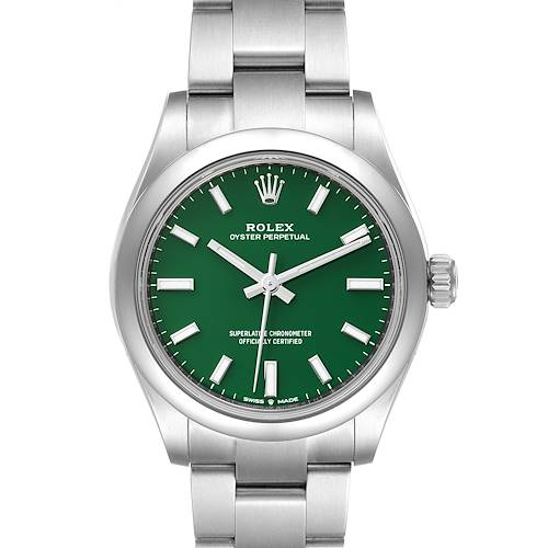 Rolex Midsize 31mm Green Dial Automatic Steel Ladies Watch 277200 Unworn