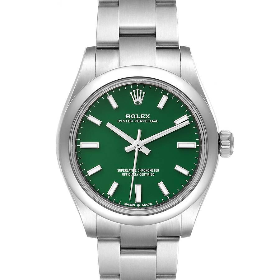 Rolex Midsize 31mm Green Dial Automatic Steel Ladies Watch 277200 Unworn SwissWatchExpo