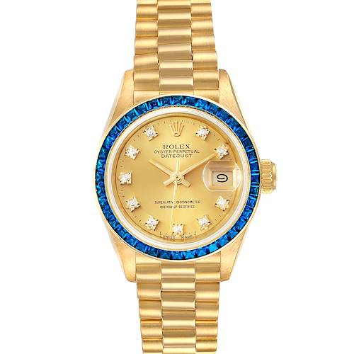Photo of Rolex President Datejust Yellow Gold Diamond Sapphire Ladies Watch 69118