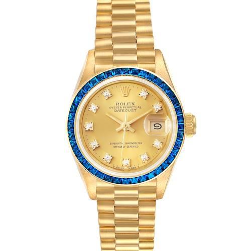 Photo of Rolex President Datejust Yellow Gold Diamond Sapphire Ladies Watch 69118