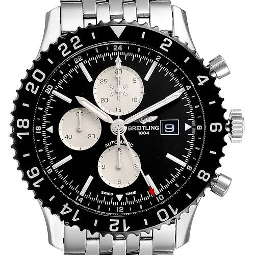 Photo of Breitling Chronoliner Black Dial Steel Mens Watch Y24310 Box Papers