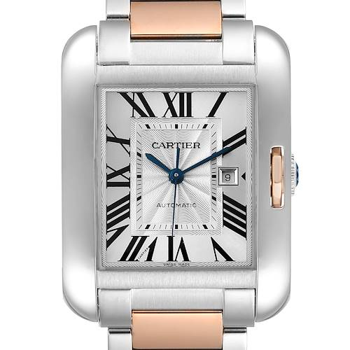 Photo of Cartier Tank Anglaise Large Steel 18K Rose Gold Watch W5310007 Box Papers