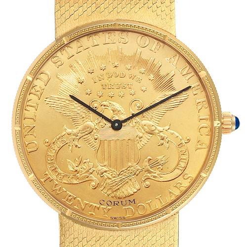Photo of Corum 20 Dollars Double Eagle Yellow Gold Coin Manual Mens Watch 1897