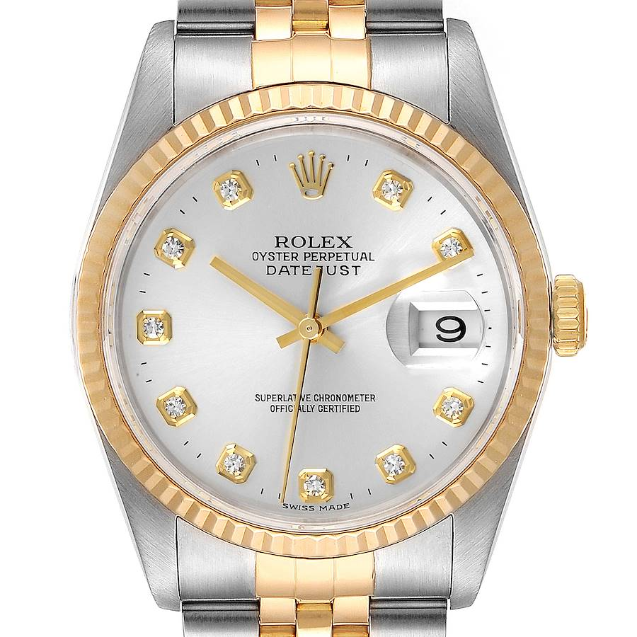 Rolex Datejust Steel Yellow Gold Silver Diamond Dial Watch 16233 Box Papers SwissWatchExpo