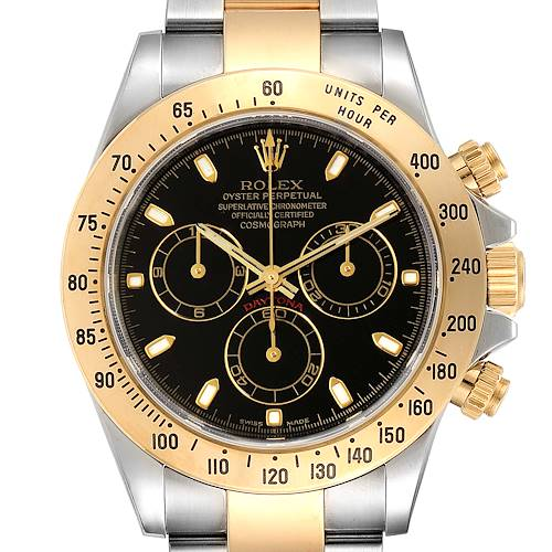 Rolex Daytona Steel Yellow Gold Black Dial Mens Watch 116523 Box Papers