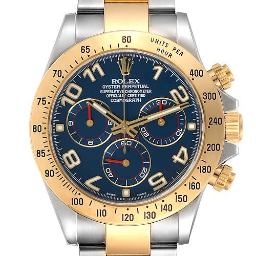Rolex Daytona Steel Yellow Gold Blue Racing Dial Mens Watch 116523