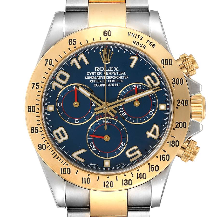 Rolex Daytona Steel Yellow Gold Blue Racing Dial Mens Watch 116523 SwissWatchExpo