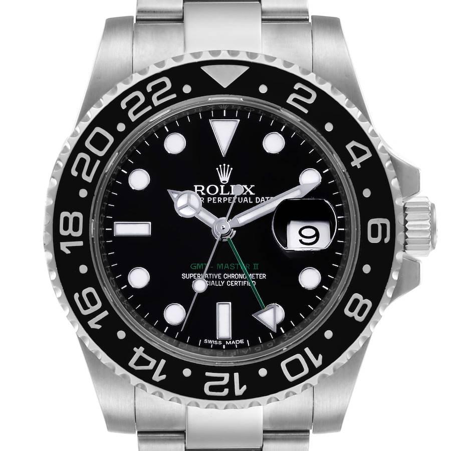 Rolex GMT Master II Black Dial Steel Mens Watch 116710 Box Papers SwissWatchExpo