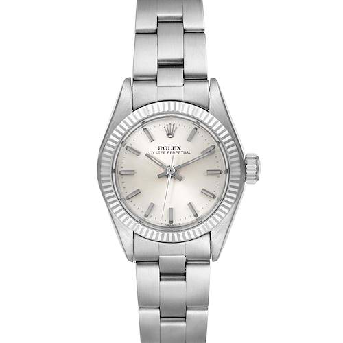 Photo of Rolex Non-Date Steel 18k White Gold Silver Dial Ladies Watch 6719
