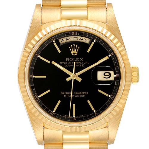 Photo of Rolex President Day-Date 36 Yellow Gold Black Dial Watch 18238 Box Papers