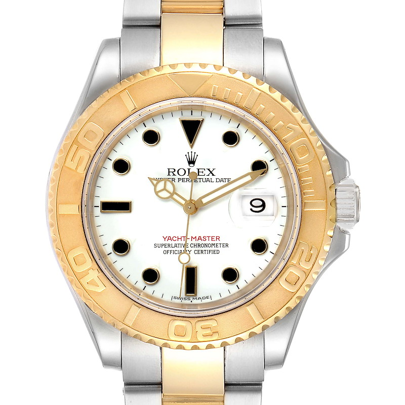 Rolex Yachtmaster 40 Steel Yellow Gold White Dial Mens Watch 16623 SwissWatchExpo