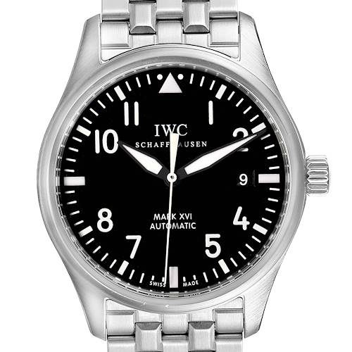 Photo of IWC Pilot Mark XVI Black Dial Steel Mens Watch IW325504 Box Papers