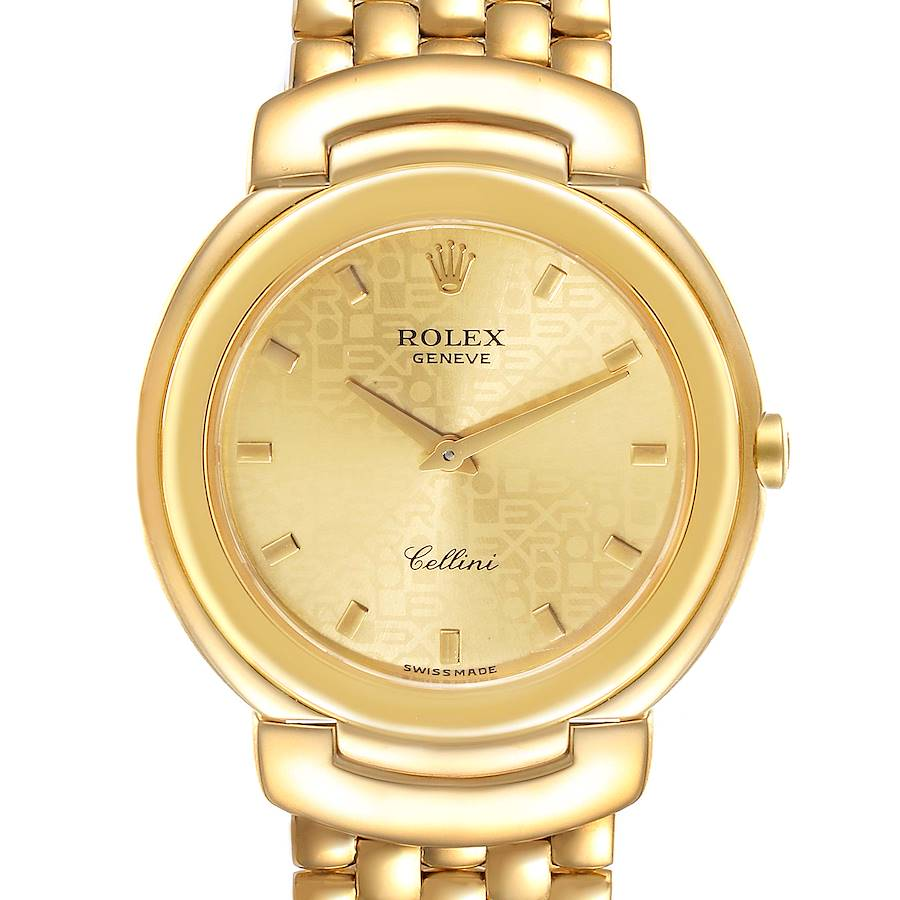 Rolex Cellini 18k Yellow Gold Champagne Anniversary Dial Mens Watch 6622 SwissWatchExpo