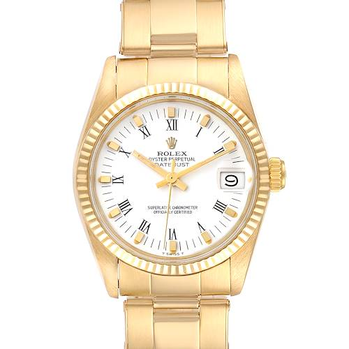 Photo of Rolex Datejust Midsize 18k Yellow Gold White Dial Ladies Watch 6827
