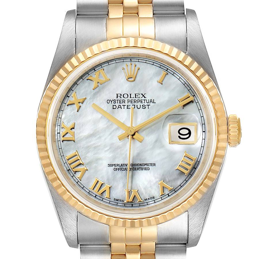 Rolex Datejust Steel Yellow Gold Mother of Pearl Dial Mens Watch 16233 SwissWatchExpo