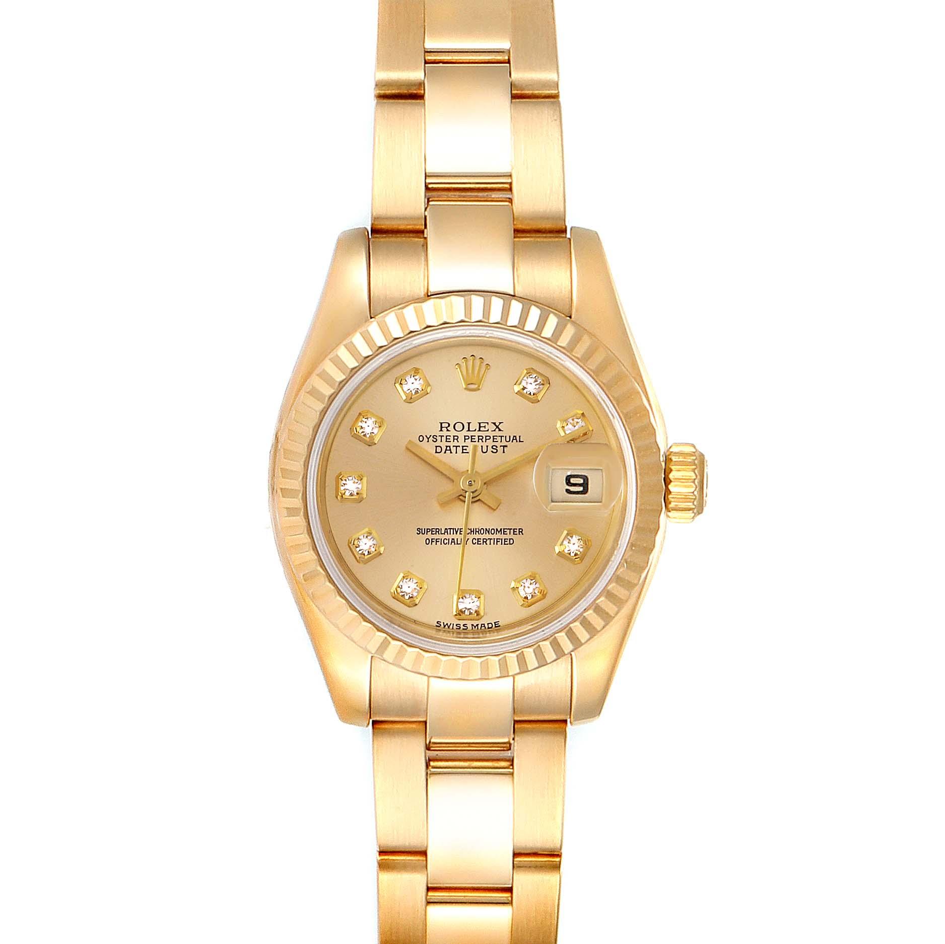 Rolex President Datejust Yellow Gold Diamond Ladies Watch 179178 Box Papers