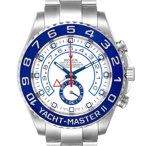 Photo of Rolex Yachtmaster II 44 Blue Cerachrom Bezel Mens Watch 116680 Box Card