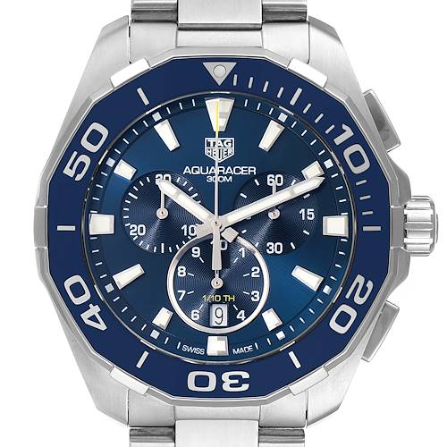 Photo of Tag Heuer Aquaracer Blue Dial Chronograph Mens Watch CAY111B Box Card