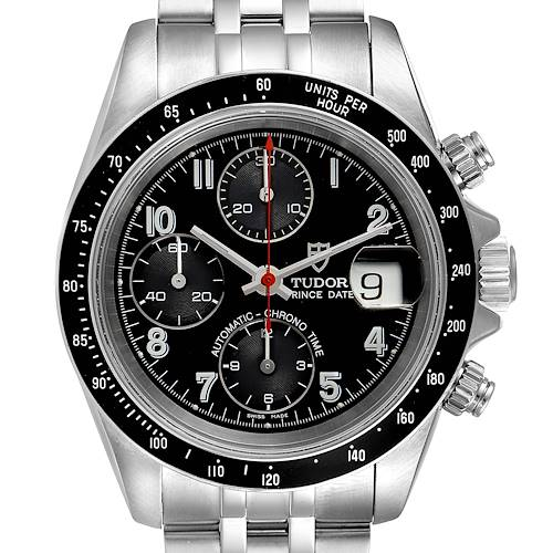 Photo of Tudor Prince Date Chronograph Black Dial Steel Mens Watch 79260 Box Papers